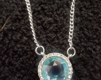 Light Blue Crystal Pendant Necklace