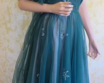 1950's Strapless Green Net Gown w/ Sequins & Beads