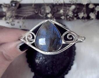 Fairy Bracelet, 925 Silver Cuff, Labradorite Cuff Bracelet, Crystal Cuff, Elven Cuff Bracelet