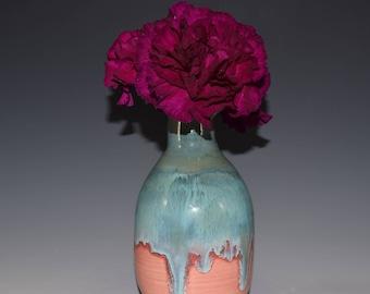 Pottery Bottle | Home Decor | Pottered and Pieced | Blue Bottle | Handmade Ceramic | Bud Vase | Pottery Vase | Unique Vase | Crystal Vase