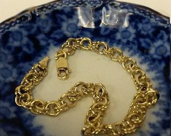 "7"" Estate 10k Yellow Gold 5mm Charm Double Link Bracelet Anniversary Mom  6"" 8"" GS1539"