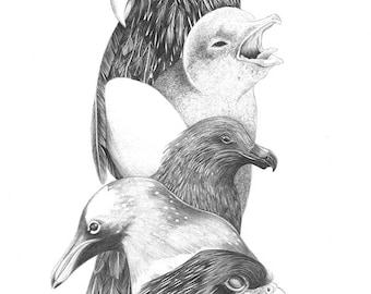 Totem Original Art Ink Drawing on Paper A4