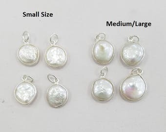 Sterling Silver Fresh Water Pearl Pendant Bezel, Small or Medium, 1 or 10 Piece Or Mixed.