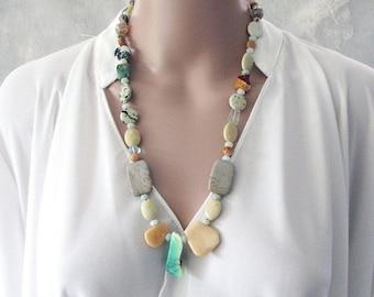Handmade Gemstone Necklace, Semi Precious Stones, Beaded  Boho Jewellery, Chunky Necklace, Boho Gemstone Necklace, Birthstone, Gift for Her
