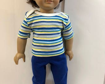 "18 inch BOY Doll Clothes, Cool ""Shades of BLUE & YELLOW"" Striped Top, Blue Pants, 2-Piece Outfit, 18 inch Ag Doll, 18 inch Boy Doll Clothes"