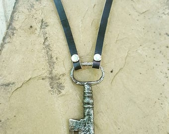 Vintage Key Necklace with Leather Necklace