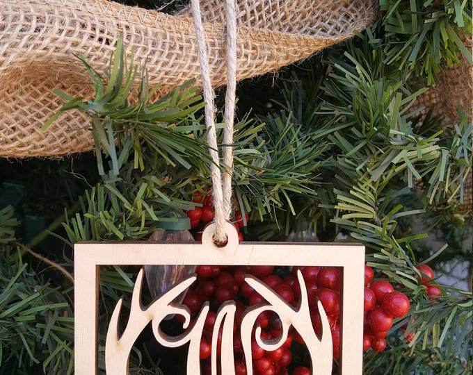 Wooden Ornament - Initial Ornament - Christmas Ornament - Antler Ornament - Rustic Christmas Tree Ornament