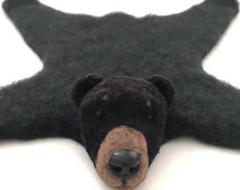Dollhouse Miniature bear rug - Black bear Handmade
