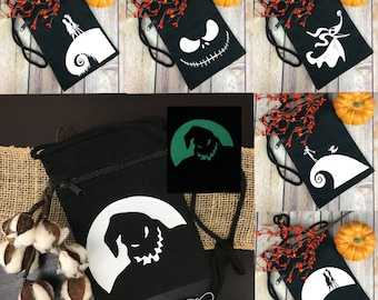 Glow in the Dark Nightmare Before Christmas Graphics on Zippered Canvas Purse / Bag - Oogie, Zero, Jack and Sally Available
