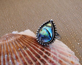 Custom Abalone Shell Ring, Sterling Silver, Made to Order