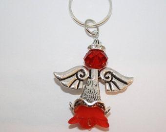 Angel Key chain, Angel Wing Key Chain, Heaven Charm, Red Glass Bead, Silver, Rhinestone