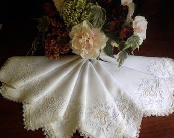 Linen embroidered napkins for your tea table.  Set of eight, freshly laundered and lovely