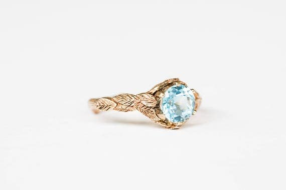 14k gold leaf twig engagement ring, sky blue topaz gold engagement ring, twig nature ring
