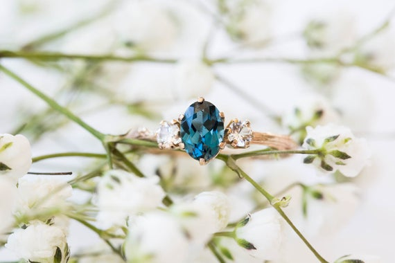 Oval three stone london blue topaz and white sapphire engagement ring, 14k gold twig engagement ring, 14k gold sapphire twig engagement ring