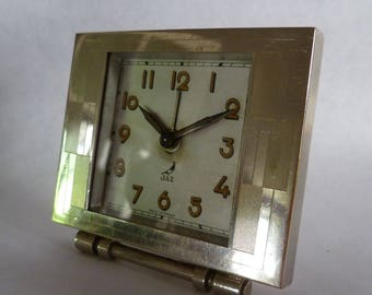 Vintage French Art Deco Alarm clock 1940's jewelled, very good condition