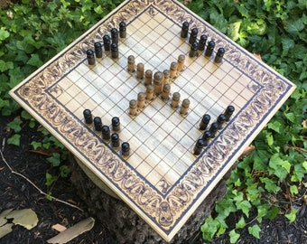 "Hnefatafl Game: ""Norseman Tafl"" Scandinavian variant, Wooden Norse Strategy Game, handcrafted & customizable - Viking Tafl - MADE TO ORDER"