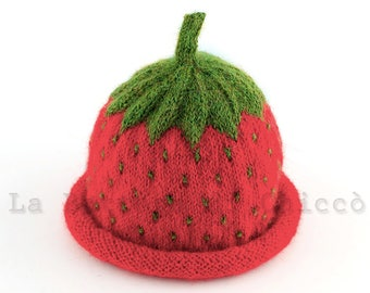 Hand knit baby hat, strawberry baby hat, alpaca baby hat, red baby hat, baby winter hat, newborn hat, Baby Shower gift
