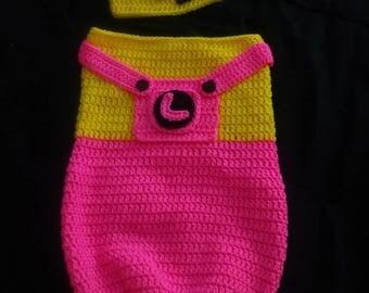 Minion cocoon and Hat set Newborn to 3 months