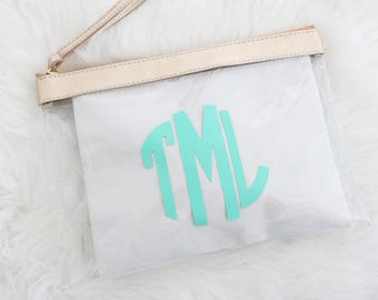 Monogram Clear Stadium Bags - Personalized Bridal Party Bags