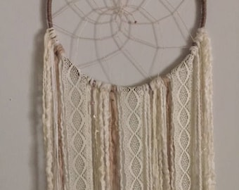 Large Ivory Dream Catcher. Twine. Lace. Wool.