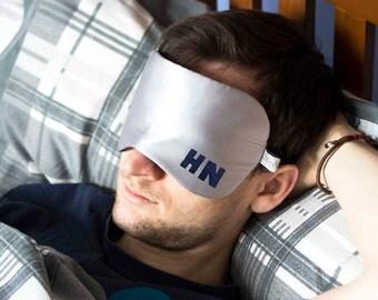 Men's Sleep Mask - Personalised Men's Eye Mask - Men's Silk Eye Mask - Wool Eye Mask - Monogrammed Eye Mask - Silk Eye Mask - Mens Blindfold