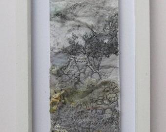 FIBRE ART,LANDSCAPE - textile art, landscape, free motion embroidery, embroidered art, landscape.