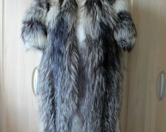 Vintage Real Silver Whitemark Fox Fur Stole - Huge and Rare Morph of Red Fox S23