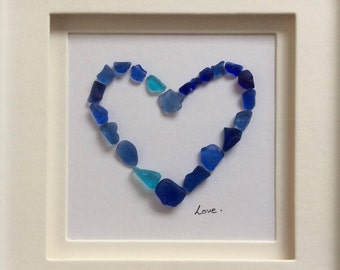Framed scottish seaglass, blue love heart picture, sea glass mosaic, mothers day wedding anniversary valentines gift