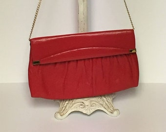 Vintage Red Faux Leather, Ande Clutch Purse,