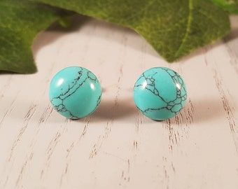 Turquoise Natural Stone Stud Earrings- Surgical Steel
