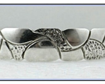 Timeless Modernist Sterling Silver Cuff Bracelet by Renowned Artisan, Robert Nilsson - Sculptural Etched Organic Design