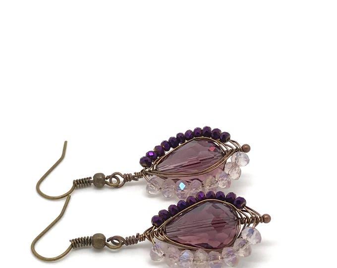 Gold rose purple teardrop earrings, gold purple earrings, delicate purple drop earrings