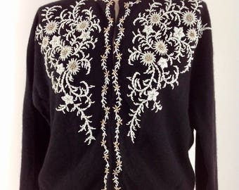 1950's Beaded Sweater / Hand Beaded / Glass Beads / Lined / from Hong Hong / Size 42