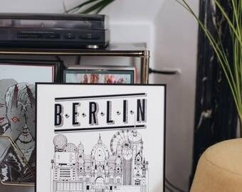 Berlin / 32x45 cm / Docteur Paper / Travel With Me / Illustration / Voyage / Affiche / Ville / Décoration murale /Noir et Blanc/ Map /Design