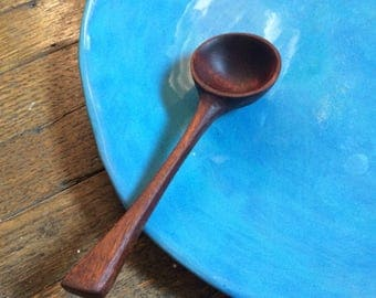 Hand-carved, solid walnut, wooden tablespoon (approx) or coffee scoop