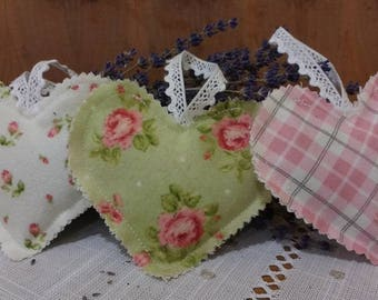 Victorian Lavender Filled Flannel Heart Sachet Trio
