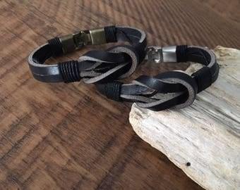 Sailor Knot Bracelet, celtic infinity bracelet, leather nautical bracelet, Christmas gift, interlocking metal clasp, gift under 20 CS-8
