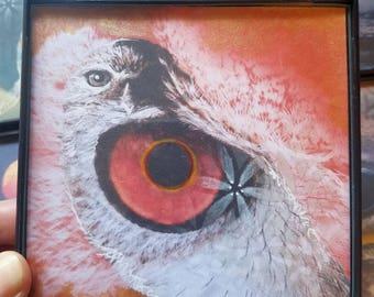 "OWL TOTEM MEDICINE 4""x4"" Framed Original Mixed Media Digital Collage"