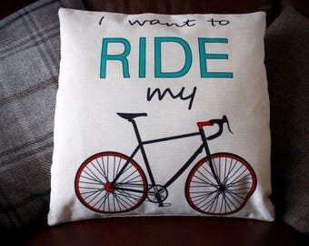 I Want To Ride My Bike Cycling Cushion Cover - Natural