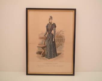 """1800's Antique Fashion Print  from French Fashion Magazine """"Le Moniteur de la Mode"""" 1890 Paris Ladies blue Dress engraving frame マネキン"""