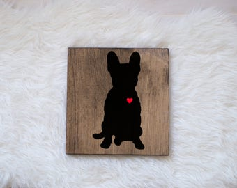 Hand Painted French Bulldog Silhouette on Stained Wood, Dog Decor, Dog Painting, Gift for Dog People, New Puppy Gift, Housewarming Gift