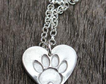Pawprint heart pendant, silver pawprint heart, pet memory jewelry, pet pawprint, cat remembrance, dog remembrance, pet loss jewelry