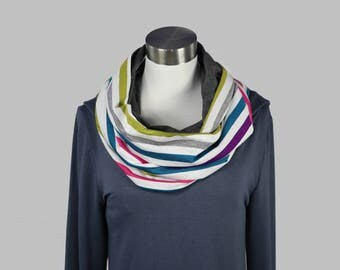Wide rainbow scarf for women teen, ladies infinity circle scarf, gifts for her, soft cotton and bamboo, ready to ship