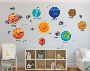 Solar System Wall Decal Planet Sun, Kids Wall Decal Stickers, REUSABLE  FABRIC Decal Wall Part 63