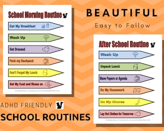 Kids School Routine/ Back to School/ ADHD Routine chart/ Routine Chart/ Morning and After School Routine/ Daily Routine Chart/ Instant PDF