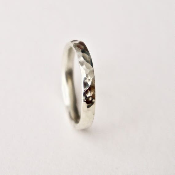 Wedding Ring in 9 Carat White Gold -  Hammered Texture Wedding Band