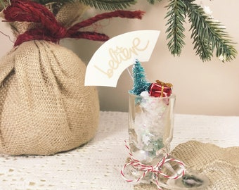 Vintage Believe Miniature Glass Santa Boot with Snow, Christmas Tree, and Present