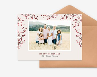 Christmas Card Template for photographers PSD Flat card - Christmas Card - Photoshop Template - CD067