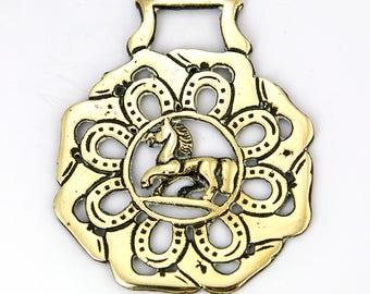 Vintage Horse brass  – Horse & horseshoe design