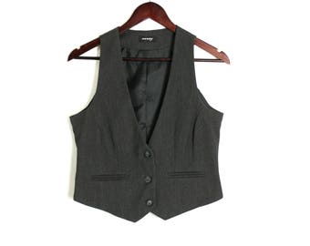 Vintage 90's Formal Grey Fitted Vest Waistcoat